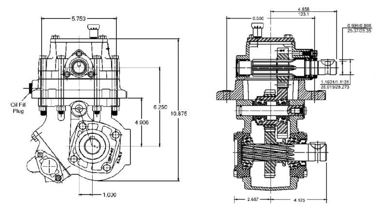 2442 series PTO housing dimensions